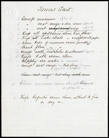 James Gant List of Duties 1900