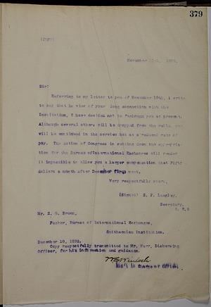 Letter from Secretary Samuel P. Langley to Solomon Brown, 11/25/1892