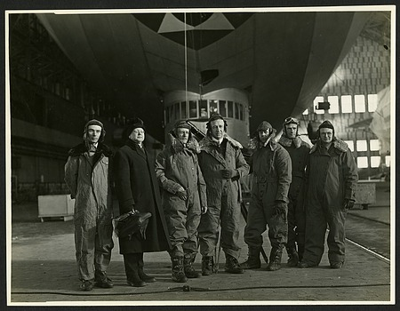 "Scientists on Solar eclipse Expedition, in front of the ""U.S.S. Los Angeles."""
