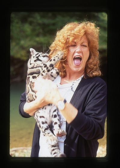 JoGayle Howard with Clouded Leopard Cub