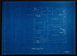 Blueprint drawing of the Third Floor of Alice Pike Barney's Studio House
