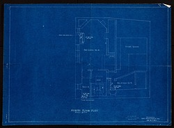 Blueprint drawing of the Fourth Floor of Alice Pike Barney's Studio House