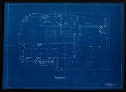 Blueprint drawing of the Basement of Alice Pike Barney's Studio House