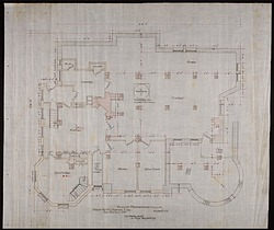 Plan of the Foundation and Cellar of Alice Pike Barney's house in Bar Harbor, Maine