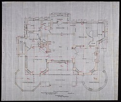 Plan of the First Story of Alice Pike Barney's house in Bar Harbor, Maine