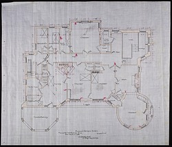 Plan of the Second Story of Alice Pike Barney's house in Bar Harbor, Maine