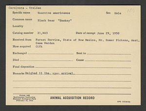 Smokey Bear's Animal Card, National Zoological Park