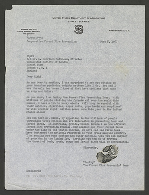 Letter from Smokey Bear (featuring his paw print signature) to the Zoological Society of London