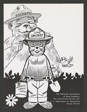 Forest Service cartoon of Smokey Bear welcoming Little Smokey