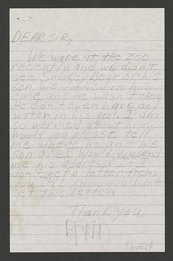 Letter from Brian Sheridan about Smokey Bear, October 1976