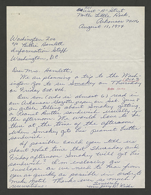 Letter from Mrs. Jerry D. Rider requesting to see Smokey Bear receive his peanut butter sandwich, August 11, 1974