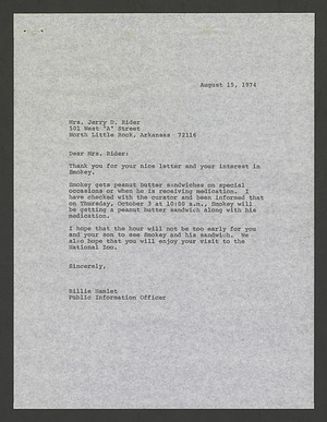 A letter from Billie Hamlet of the NZP to Mrs. Jerry D. Rider regarding Smokey Bear receiving his peanut butter sandwich, August 15, 1974
