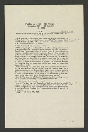"Act of Congress establishing the ""Smokey Bear"" character or name"